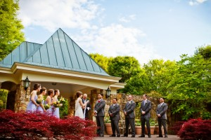 Wedding party stands at Flagler Garden. Image by Sweet Memories Photography by Naomi Phelps.