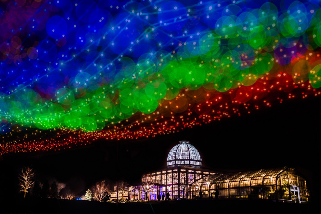 light rainbow of living color at Dominion GardenFest of Lights, photo by Stephen & Lily Photography