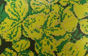A botanical mosaic made from LEGO BRICKS.