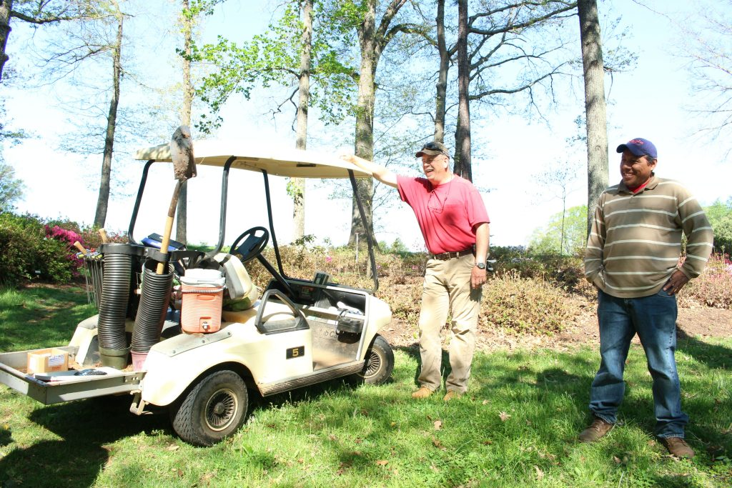 Lewis Ginter Nature Reserve gardeners Wes Morgan and Oscar Gamez enjoy working outside on sunny days