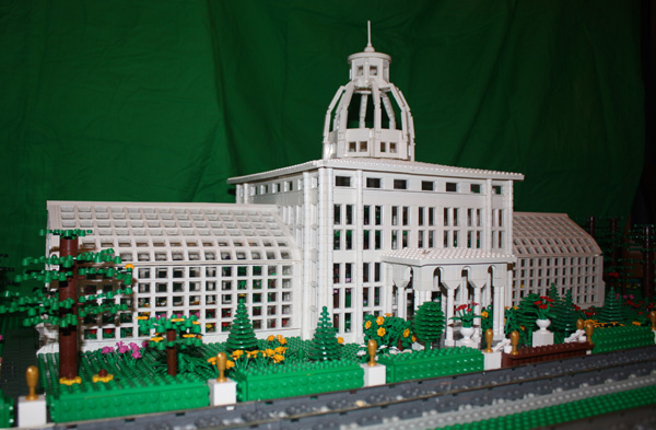 The Conservatory in LEGO bricks, created by Robert Clarady.  Conservatory photo is by Dennis Rozema