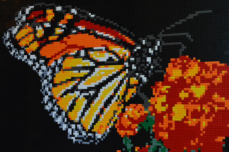 One of Brian Korte's LEGO mosaics, depicting a vivid orange monarch butterfly pollinating red and orange flowers.