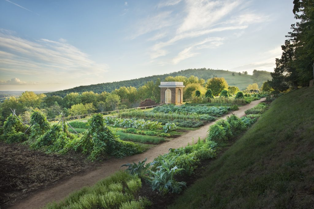 Vegetable and herb gardens at Monticello in Charlottesville, VA exemplify heirloom plants grown by Pres. Thomas Jefferson.