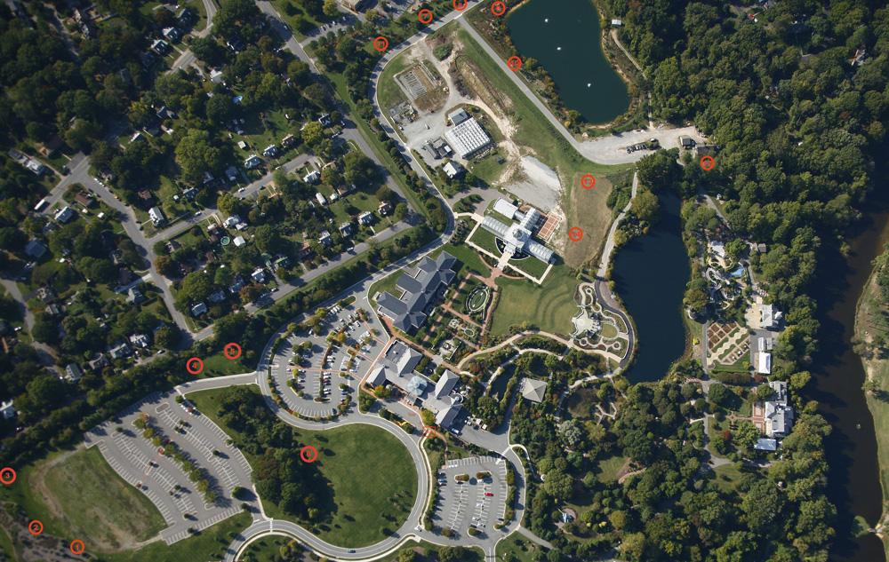 map of bluebird box locations at Lewis Ginter Botanical Garden