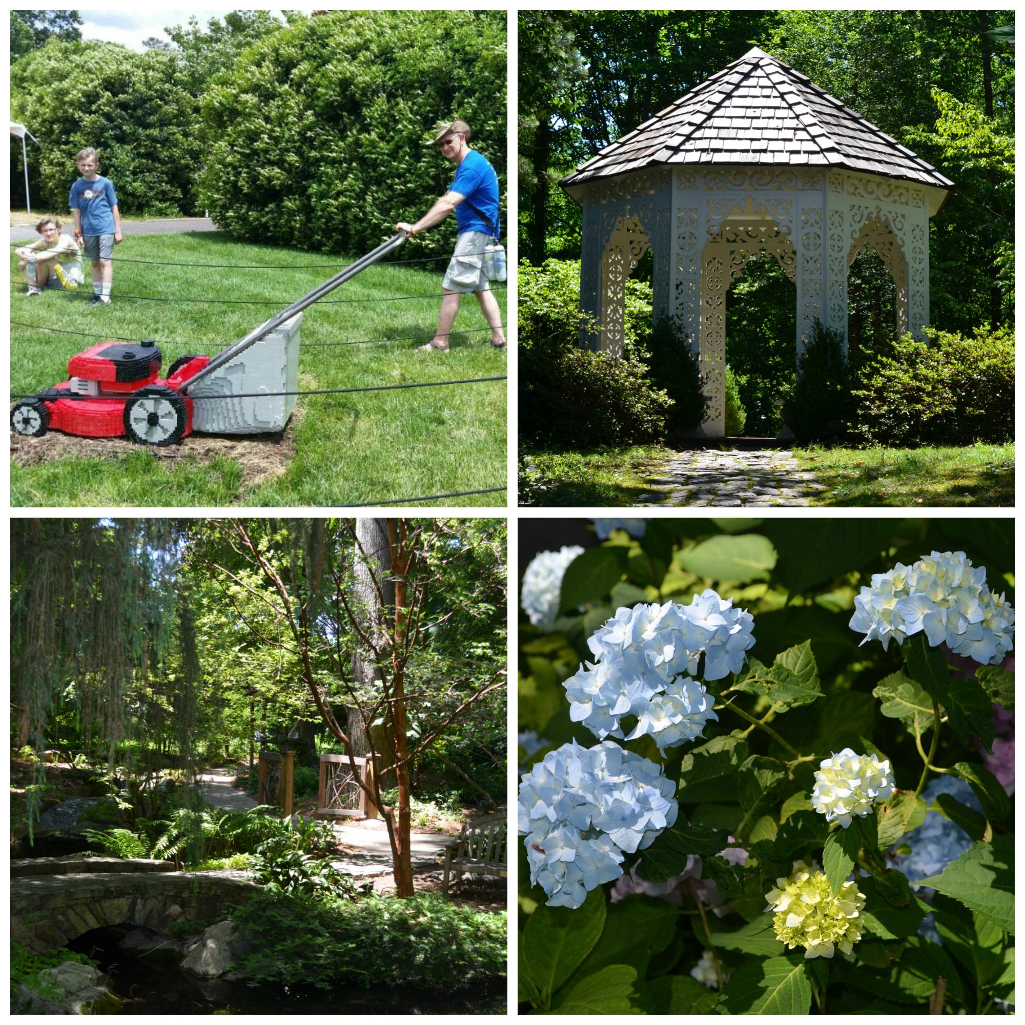 lawnmower lego brick sculpture, lace house, dot's garden, hydrangea