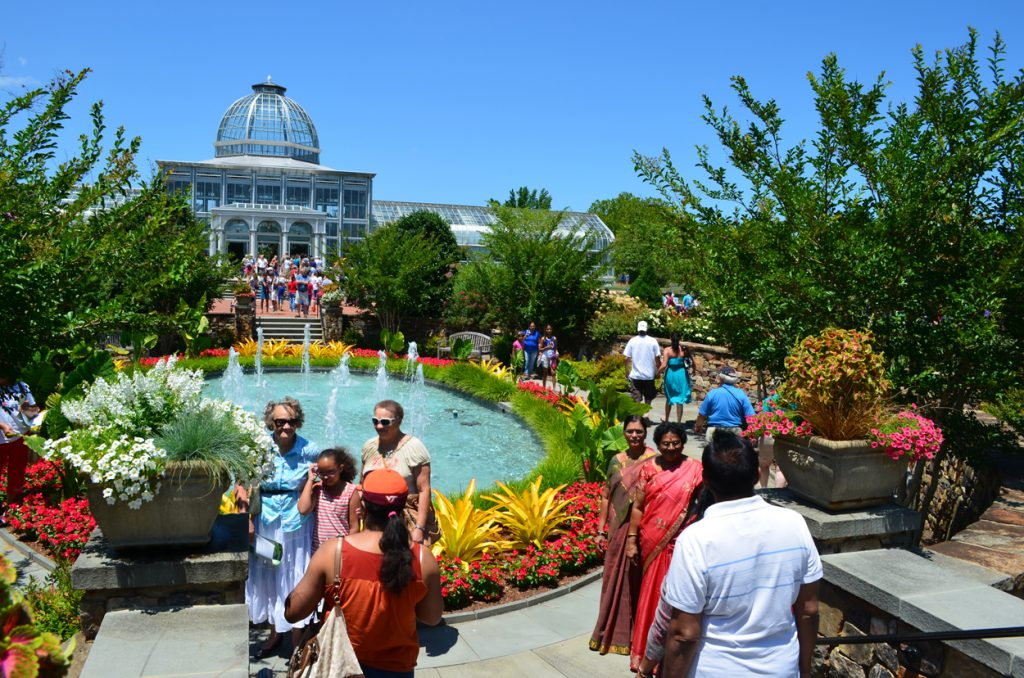people enjoying the Central Garden on a free day.