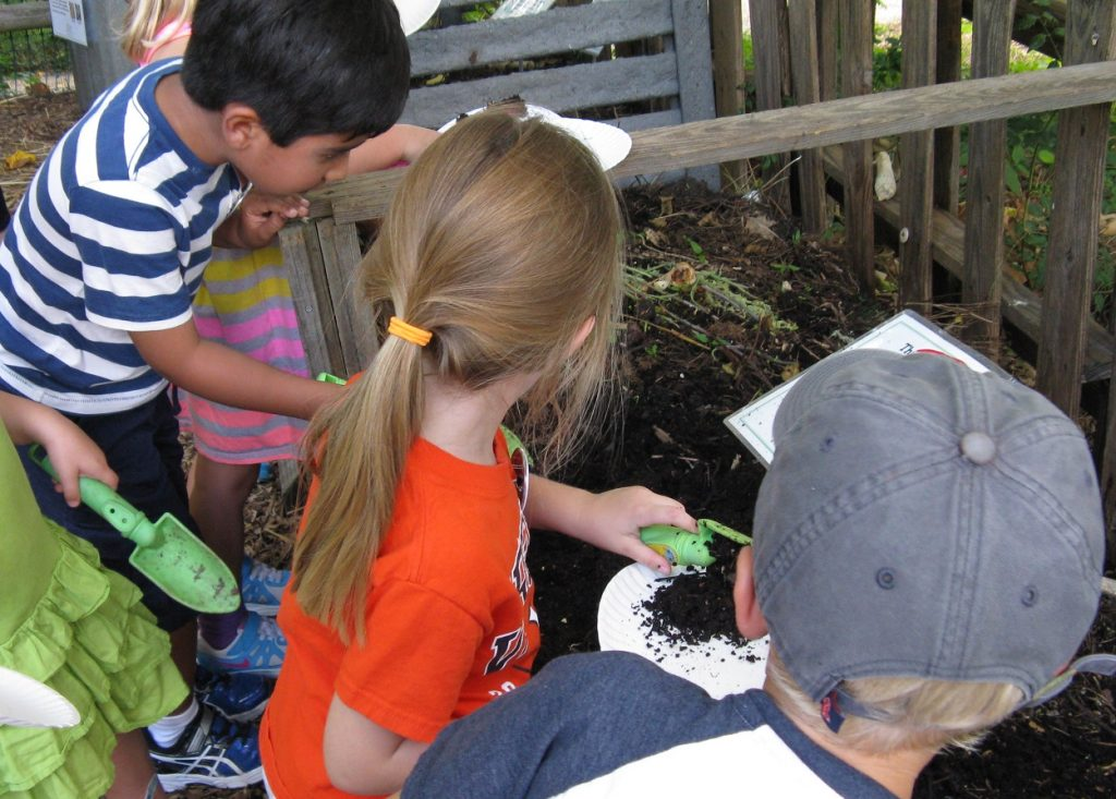 Exploring worms in compost. Composting is a great Earth Day activity that you can do every day.