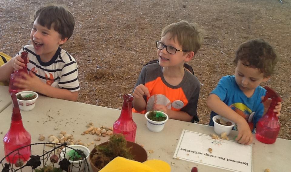 three campers making pond habitats
