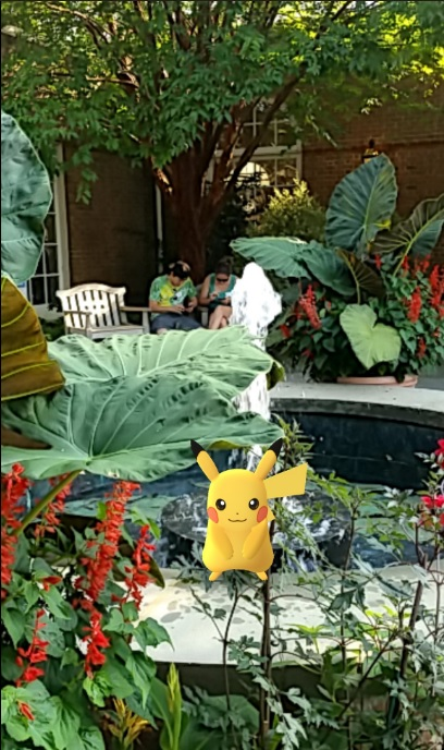 pikachu in the fountain garden photo by Shelly Bowman