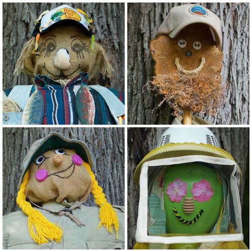 scarecrows at October Oddities in the Children's Garden