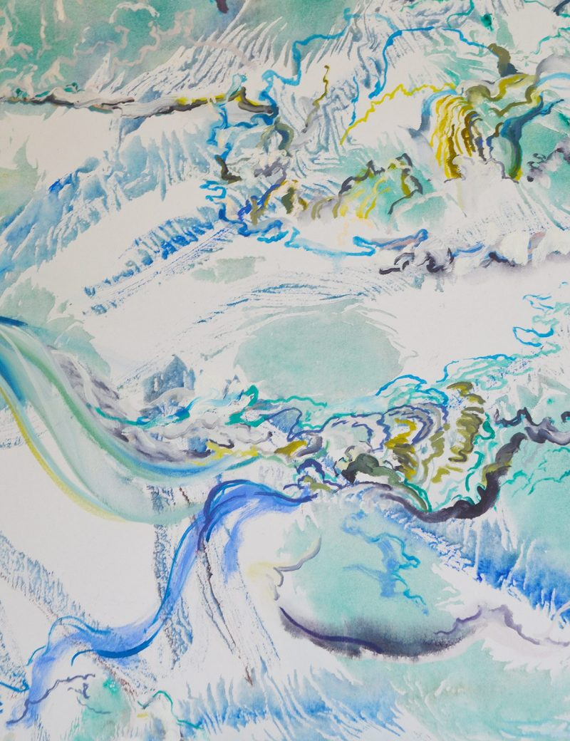 An abstract painting of the roaring James River. Brushstrokes mimic the fluidity and turbulence of the river.