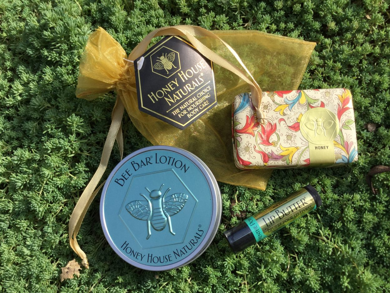 Honey Naturals holiday shopping items including skin care and lip balm
