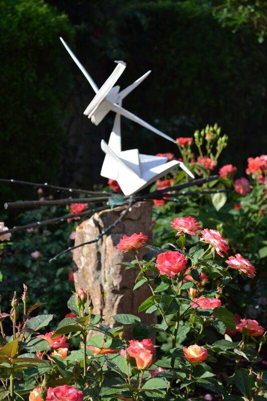 cranes and roses, Origami in the Garden, by Kevin Box