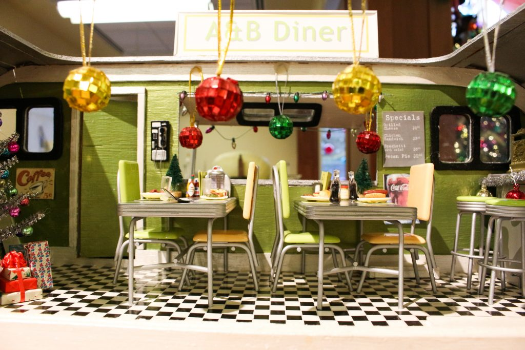 A & B Diner in miniature at the dollhouse exhibit at Dominion GardenFest of Lights