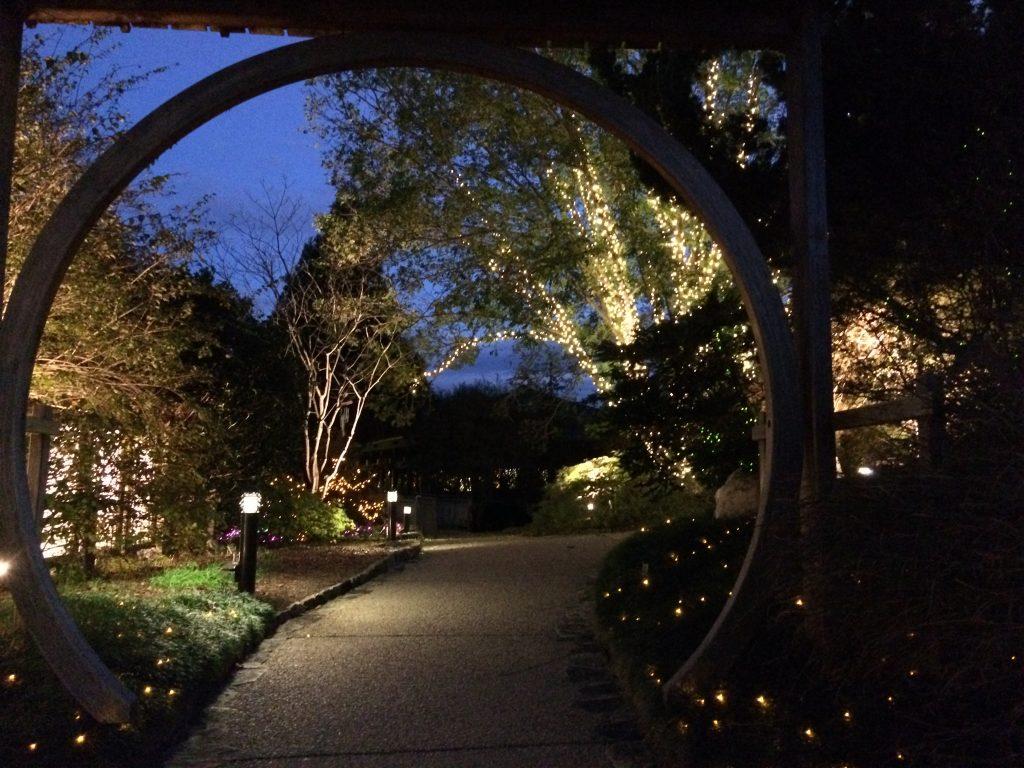 moon-gate lit at night