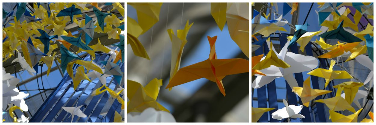 GardenFest decorations, paper-cranes in blue & yellow.