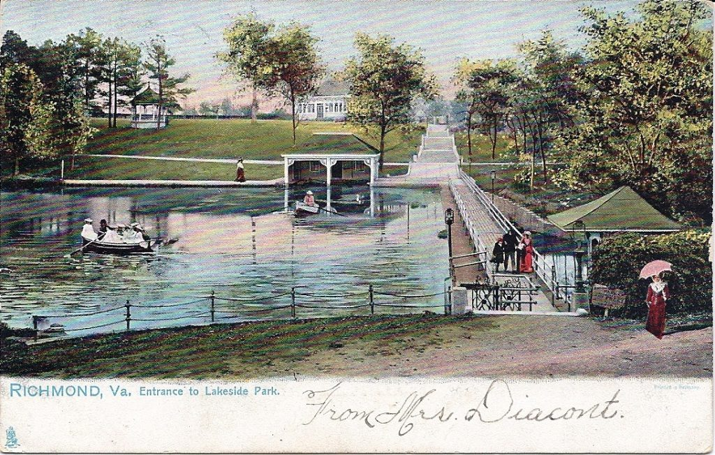 Lakeside Lake and the lakeside dam postcard