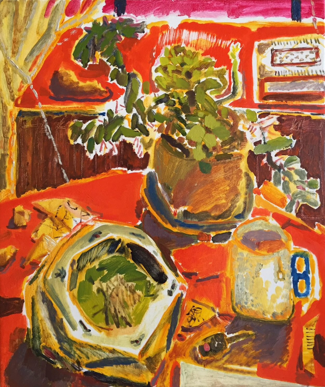 A painting of two plants and a mug on a table with a red tablecloth and a red window.