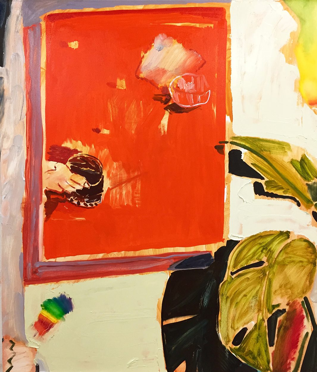 A painting of a wall with a red painting on the wall. Two large leaves are to the right of the painting and a spectrum of color is beneath the painting.