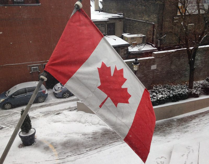 Canadian Flag in the snow at gardens conference