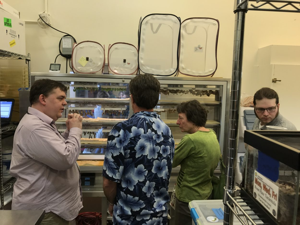 Eric Wenzel, David, Sherry and Elliott stand surrounded by mesh moth cages and other insect paraphanalia.