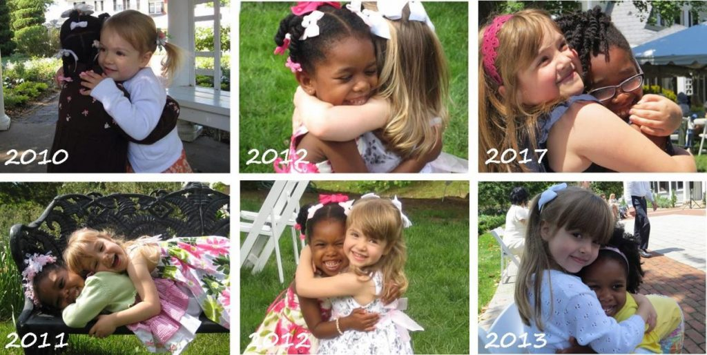 Best friends hugging on Mother's Day each year.