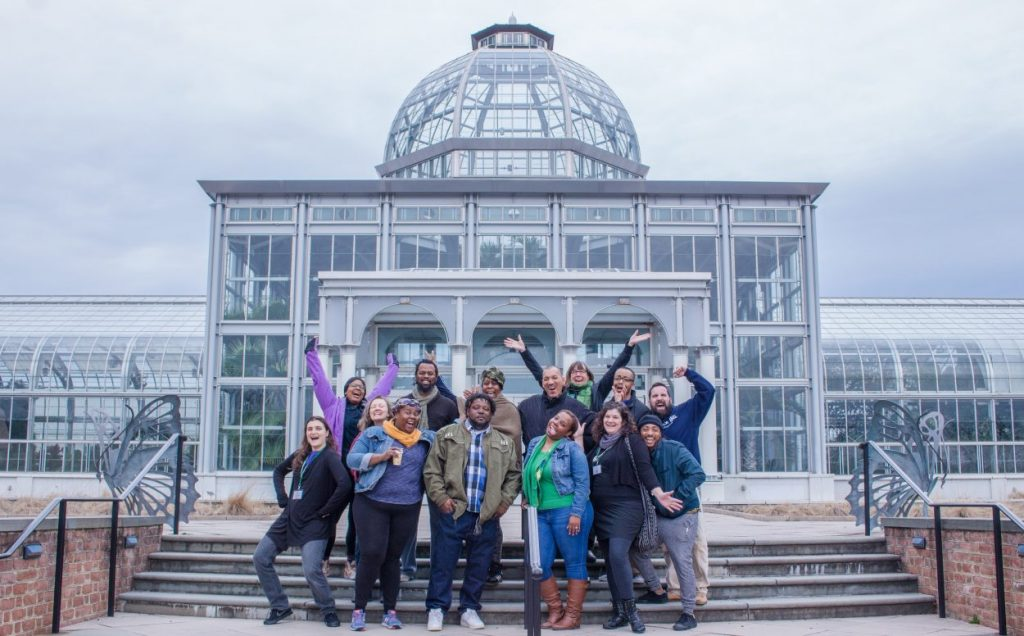 Beautiful RVA is made up of Ginter Urban Gardeners an Urban Greening group. Here they are standing in front of Lewis Ginter Botanical Garden's Conservatory. Image by Phuong Tran