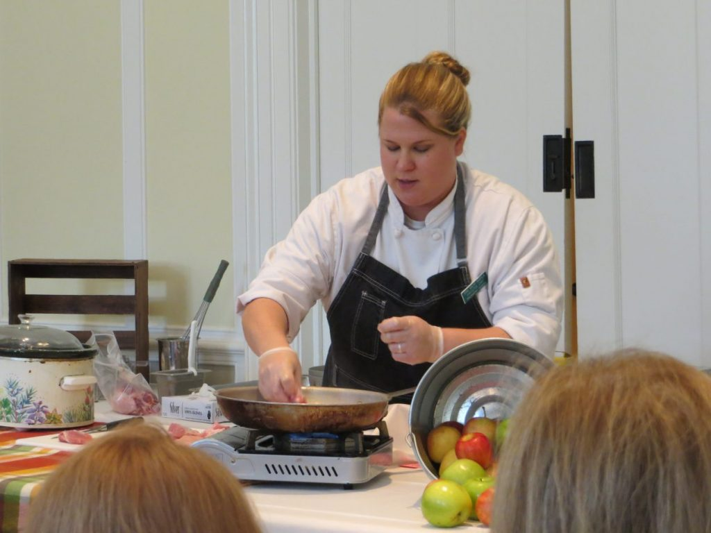Chef Anne Maury Hapaala during a cooking demo
