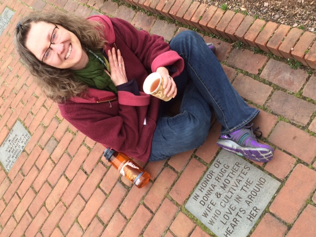 Katy Rugg and the paver she dedicated to her mom at Lewis Ginter.