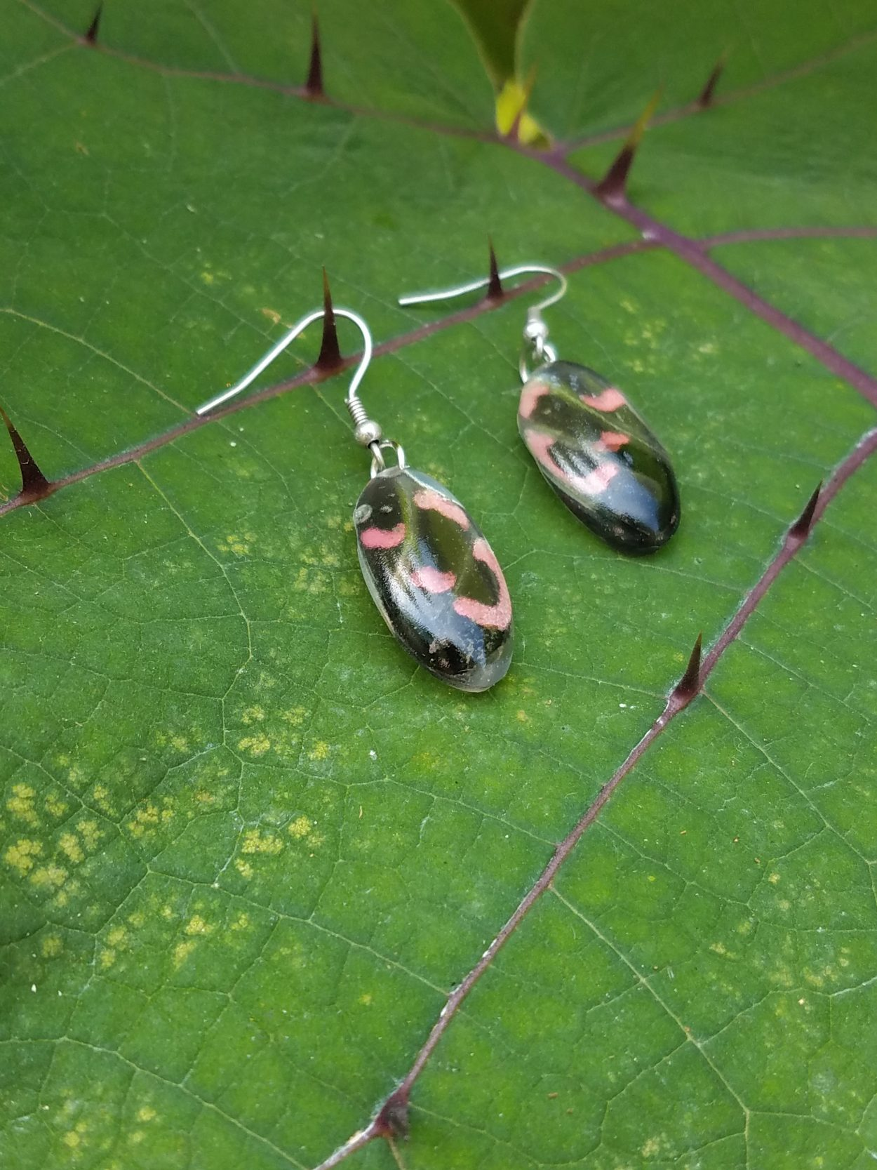 Pink Cattleheart butterfly wing earrings displayed on thorn-bearing leaf -- just one of many pieces of Butterfly Wing Jewelry available at The Garden Shop.