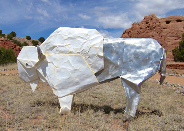 White Origami Bison by artist Kevin Box