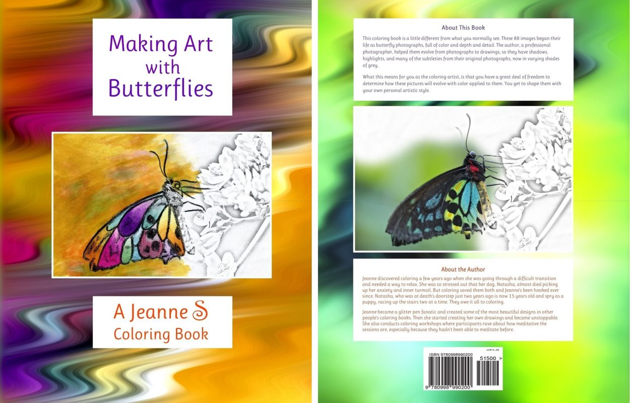 Butterfly books including this butterfly coloring book show varying stages of color versus black and white