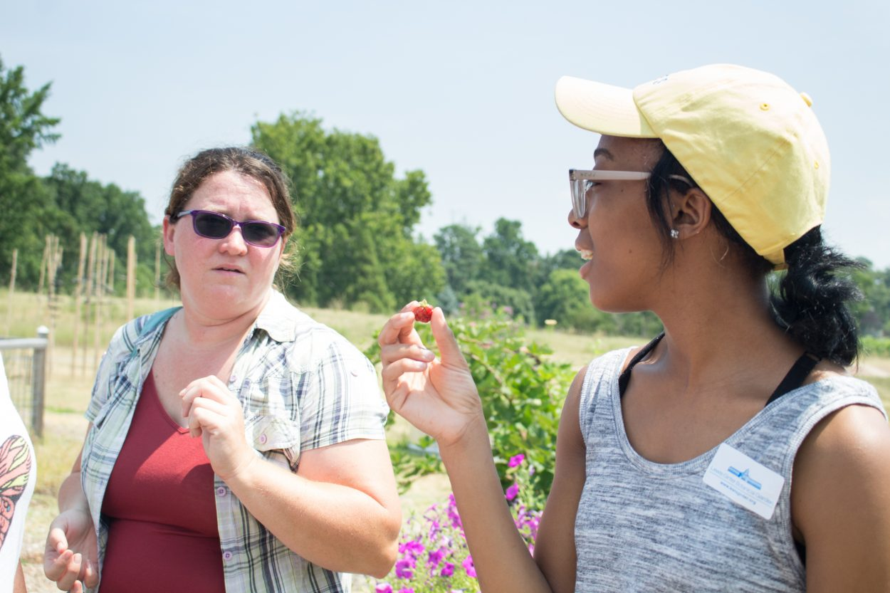 A student holding a piece of fruit to her nose., intending to try it.