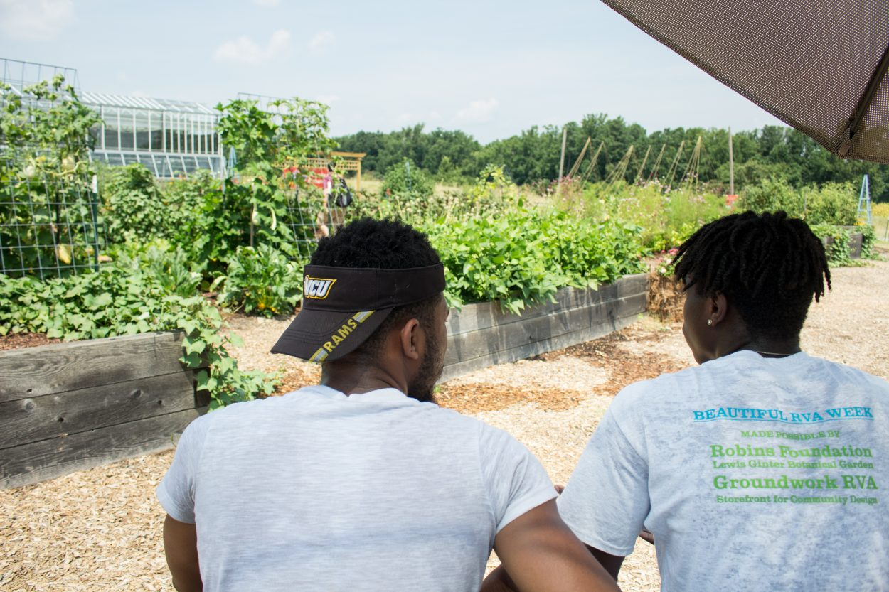Two students enjoyed the scene at the Kroger Community Kitchen Garden