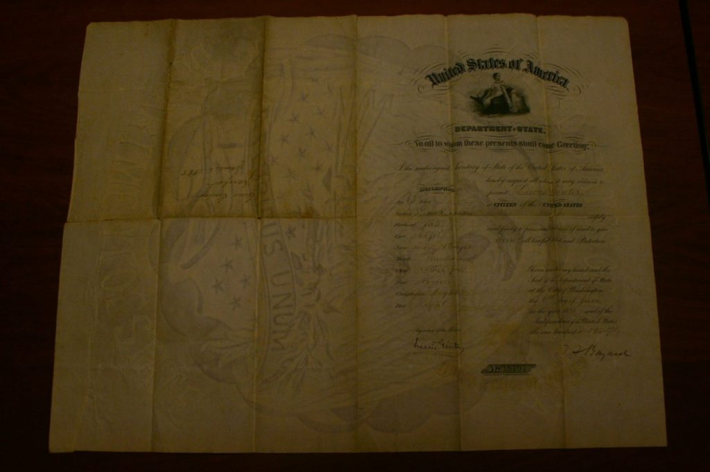 Lewis Ginter's 1888 passport from our archives