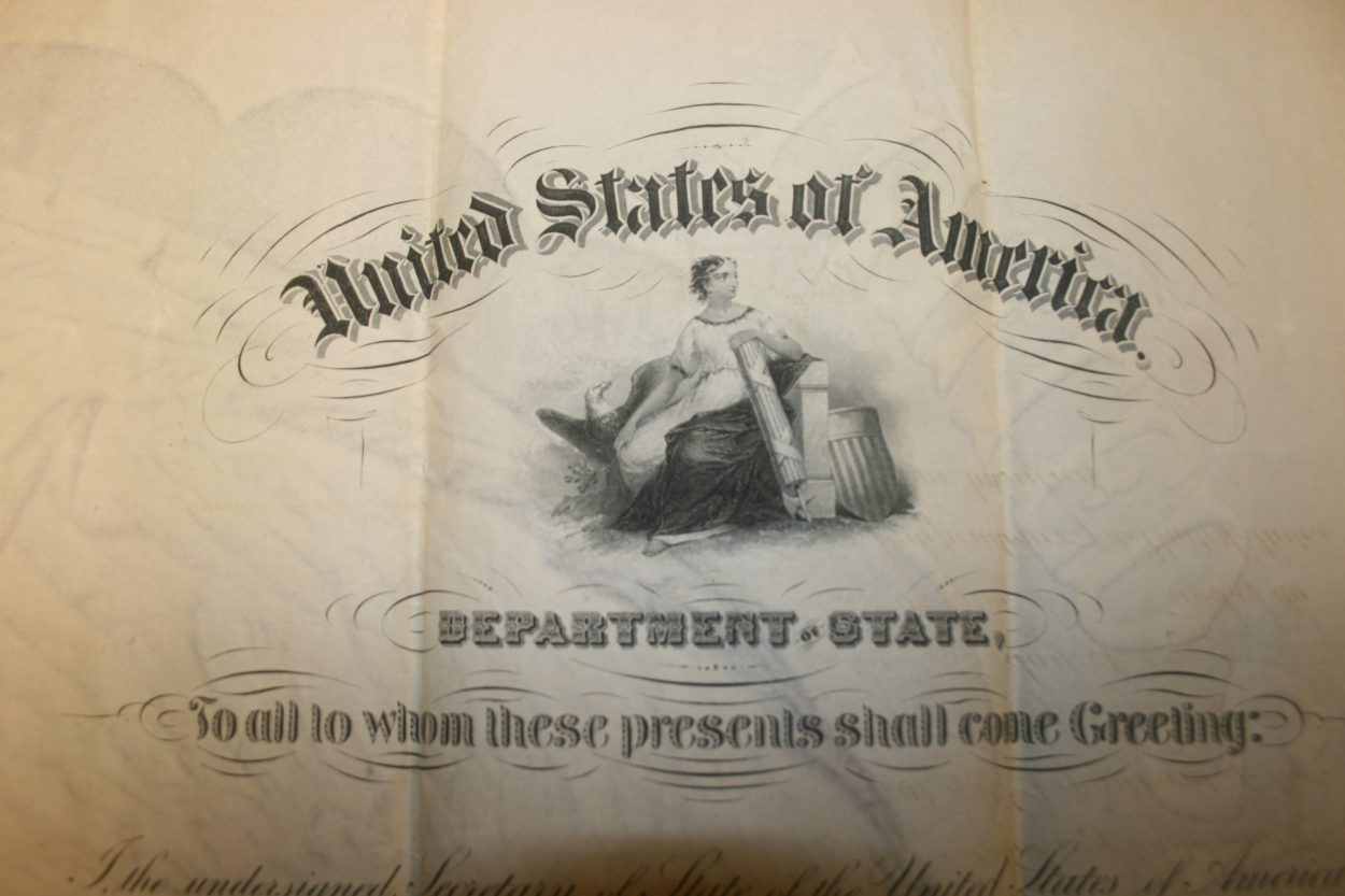 Detail of an American passport from the late 1800's from Lewis Ginter Botanical Garden's archives