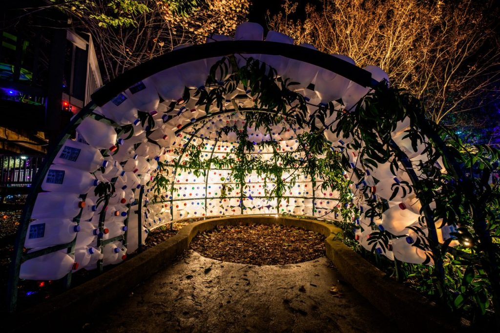 Milk jug igloo in the Children's Garden. Image by Harlow Chandler