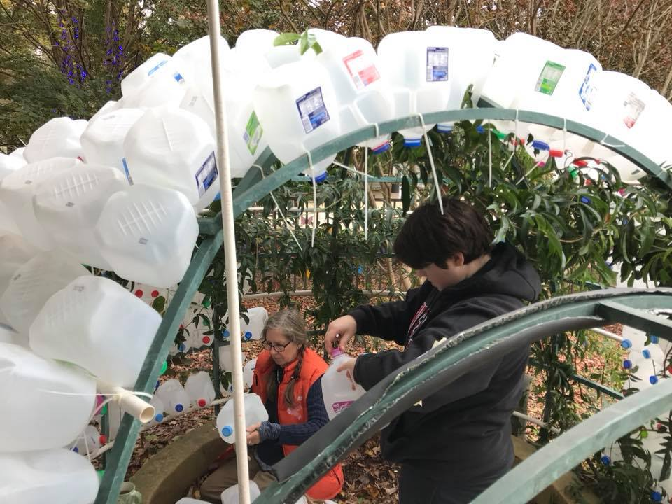 Recycled milk jugs making up the igloo in the Children's Garden