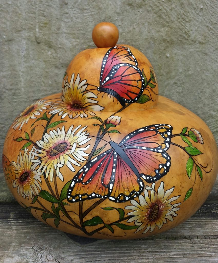painted gourd with butterflies
