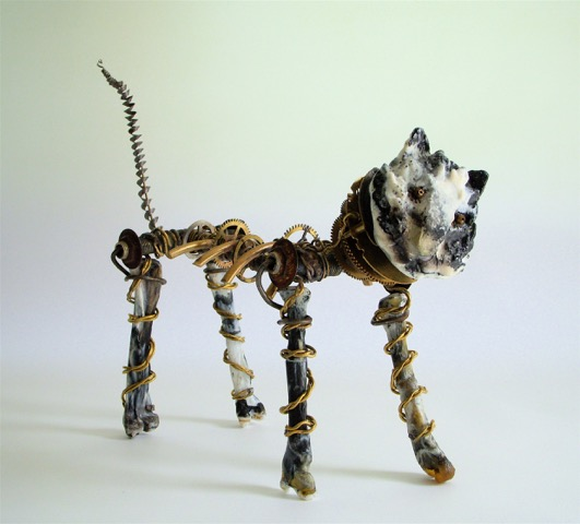 Funky cat sculpture