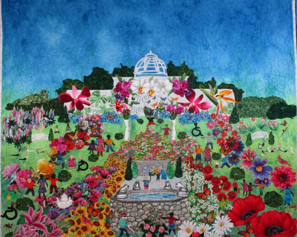 A colorful and artist quilt of Lewis Ginter Botanical Garden, part of our artisans display.