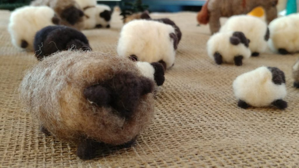 Hand-felted wool sheep