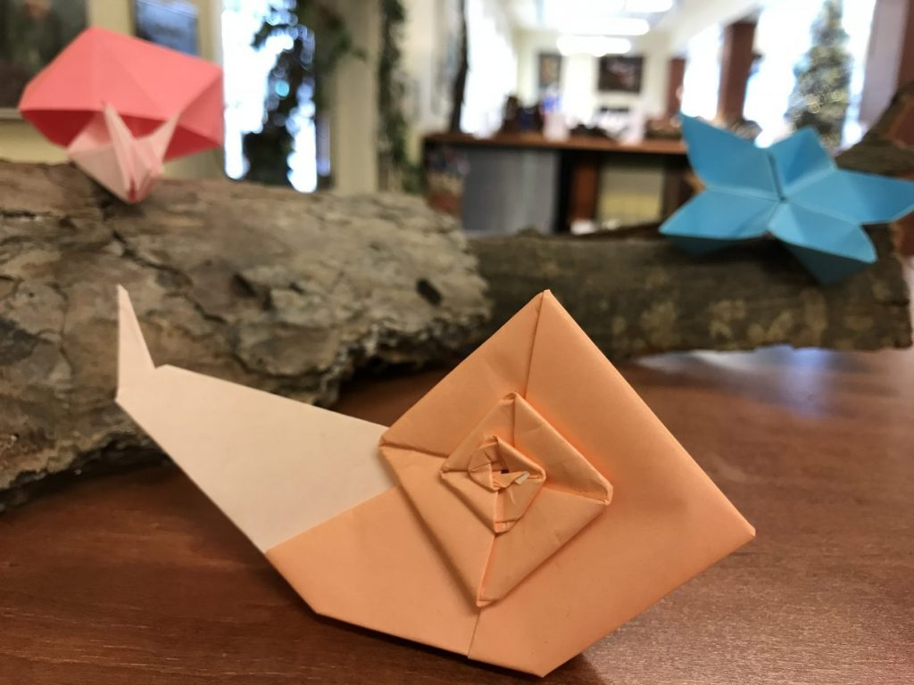 Orange origami snail created by Spencer Linkous