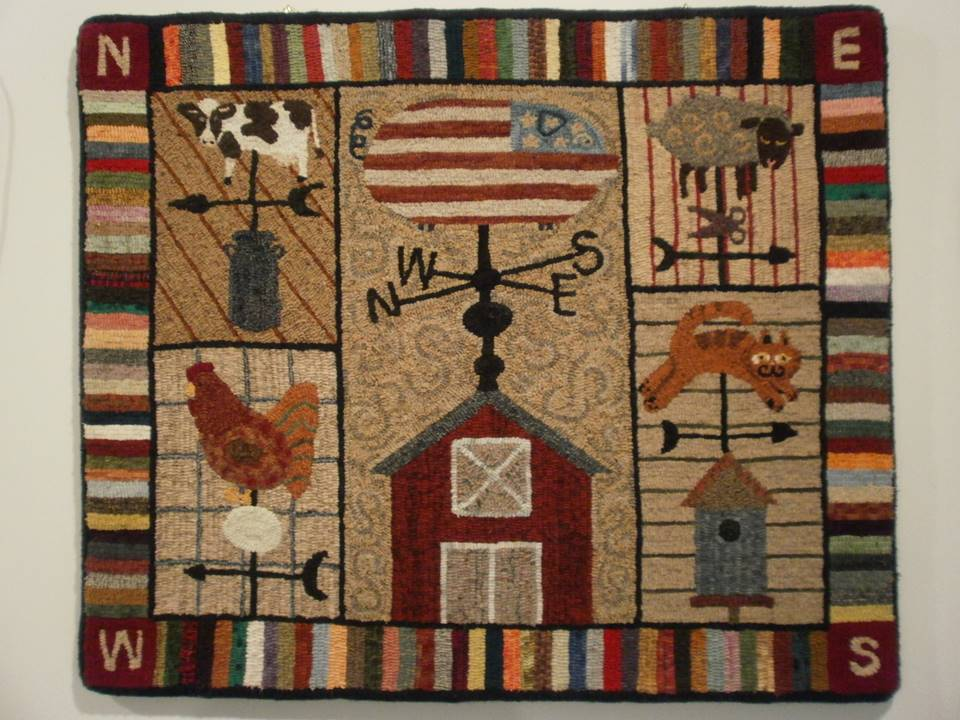 Rug hooking art -- weathervanes