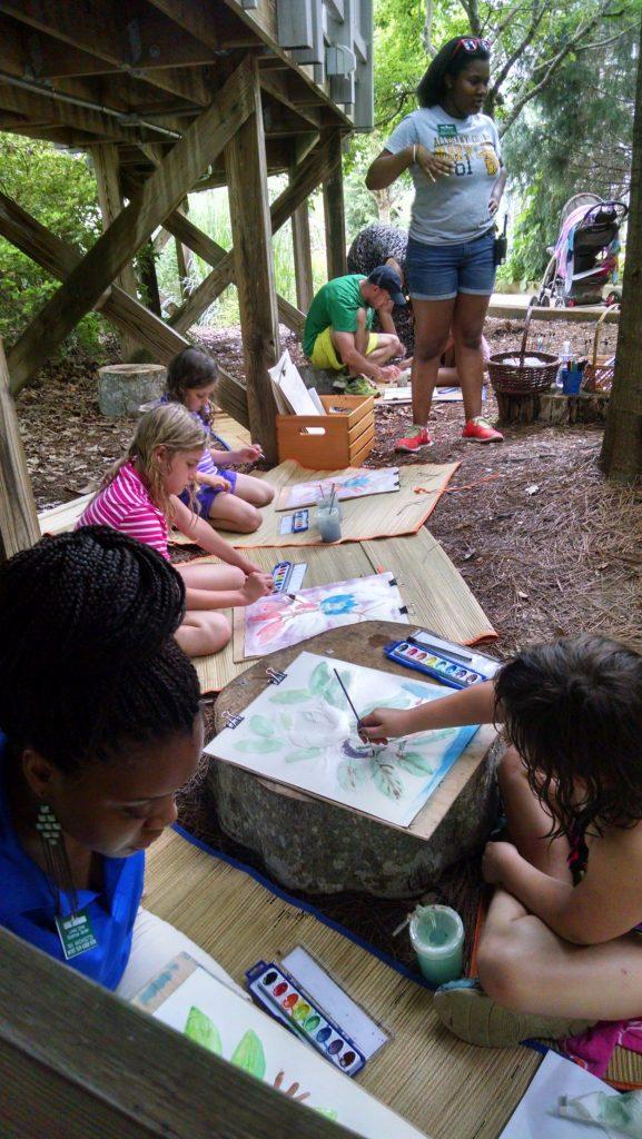 Children working in water color making art