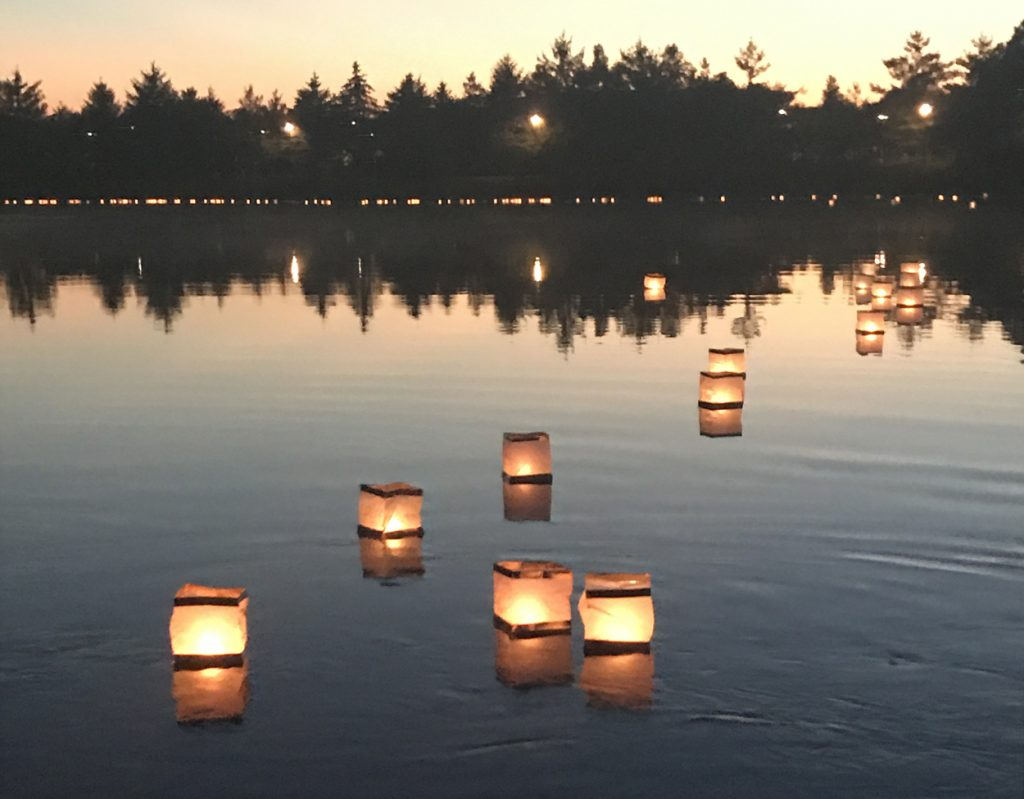 lanterns floating on lake With Permission. ©2018 The Morton Arboretum. All rights reserved.