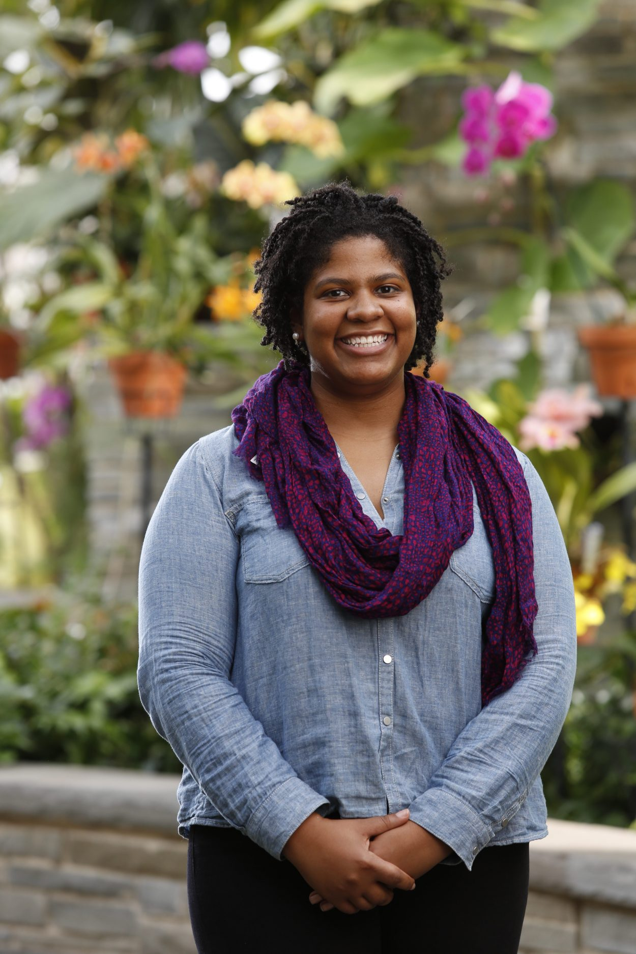 Kendra Norrell in the Conservatory at Lewis Ginter Botanical Garden