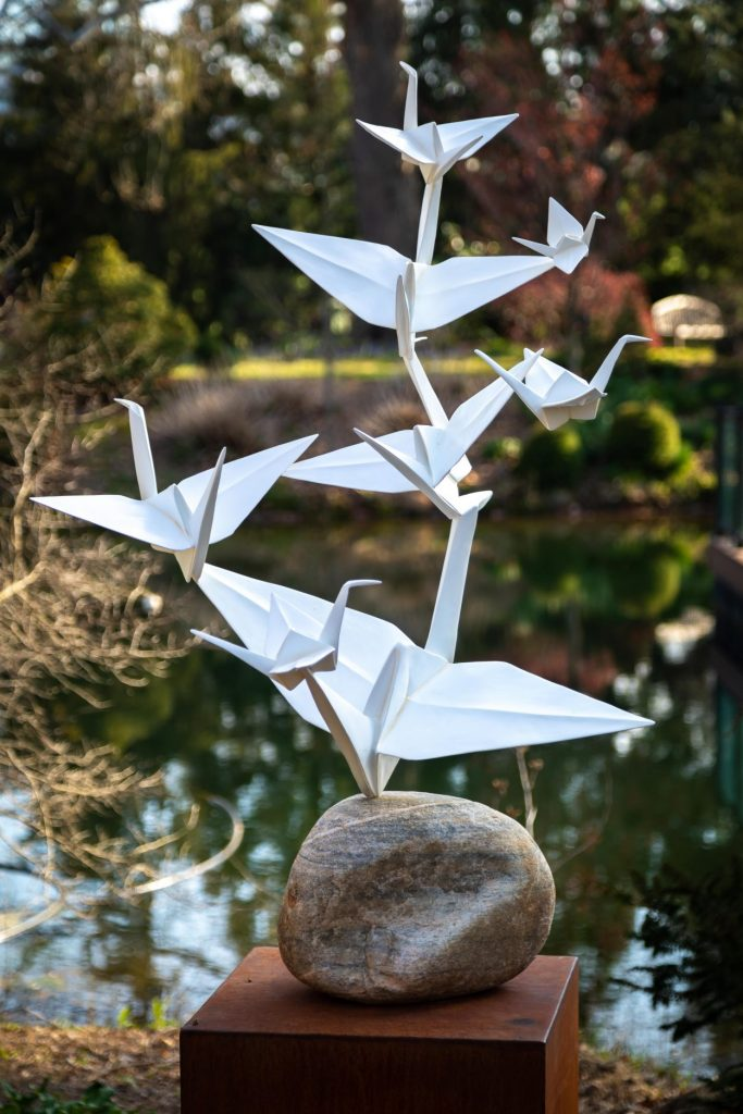 Origami cranes from Origami in the Garden at Lewis Ginter Botanical Garden. Image by Tom Hennessy