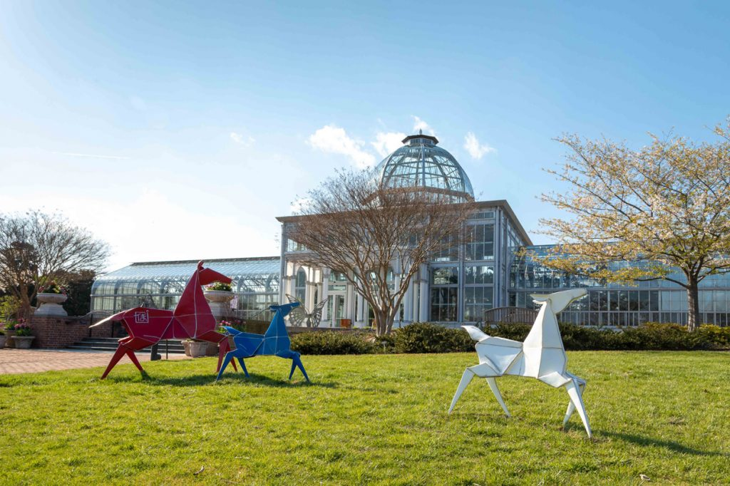 Painted Ponies from Origami in the Garden at Lewis Ginter Botanical Garden. Image by Tom Hennessy