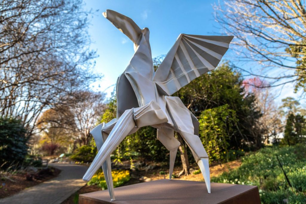 Hero's Horse from Origami in the Garden at Lewis Ginter Botanical Garden. Image by Tom Hennessy